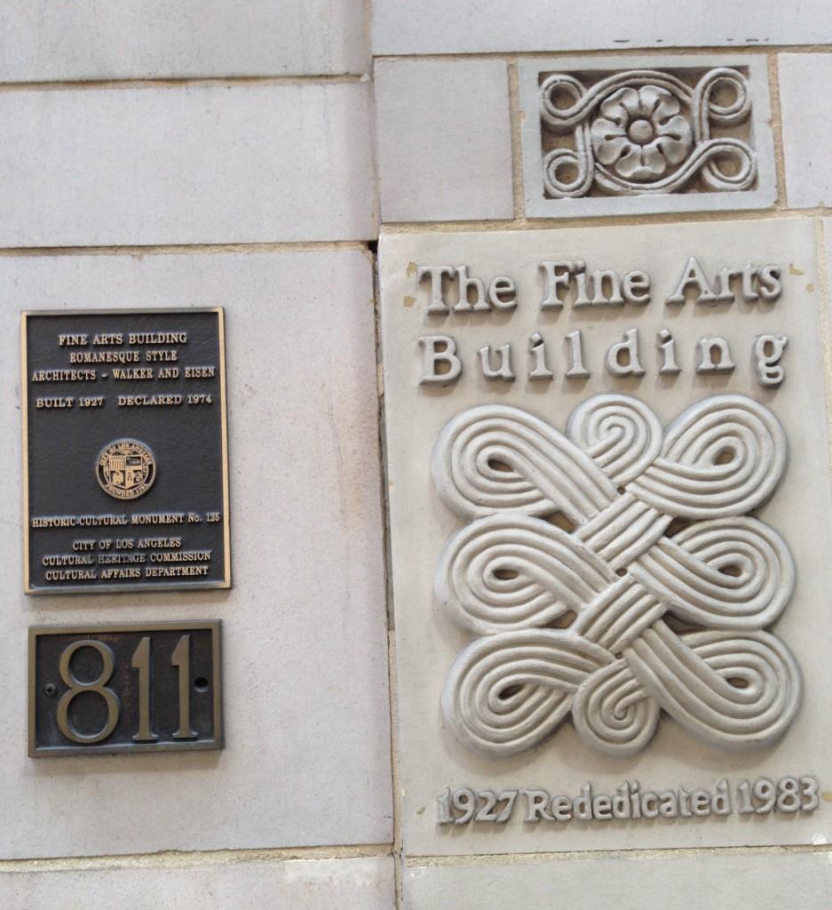 Exterior plaques, Fine Arts, DTLA