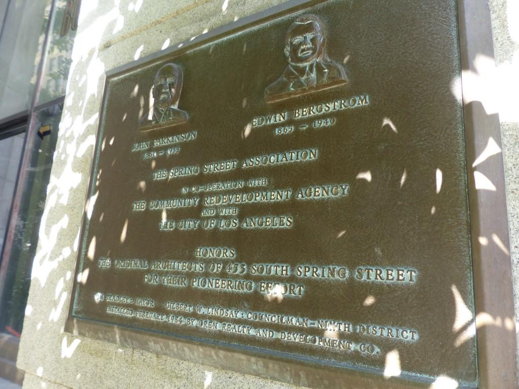 Plaque honoring Parkinson and Bergstrom