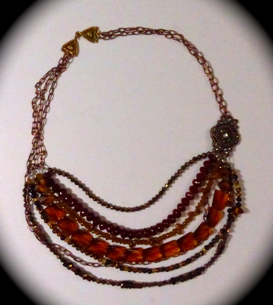 finished amber color necklace