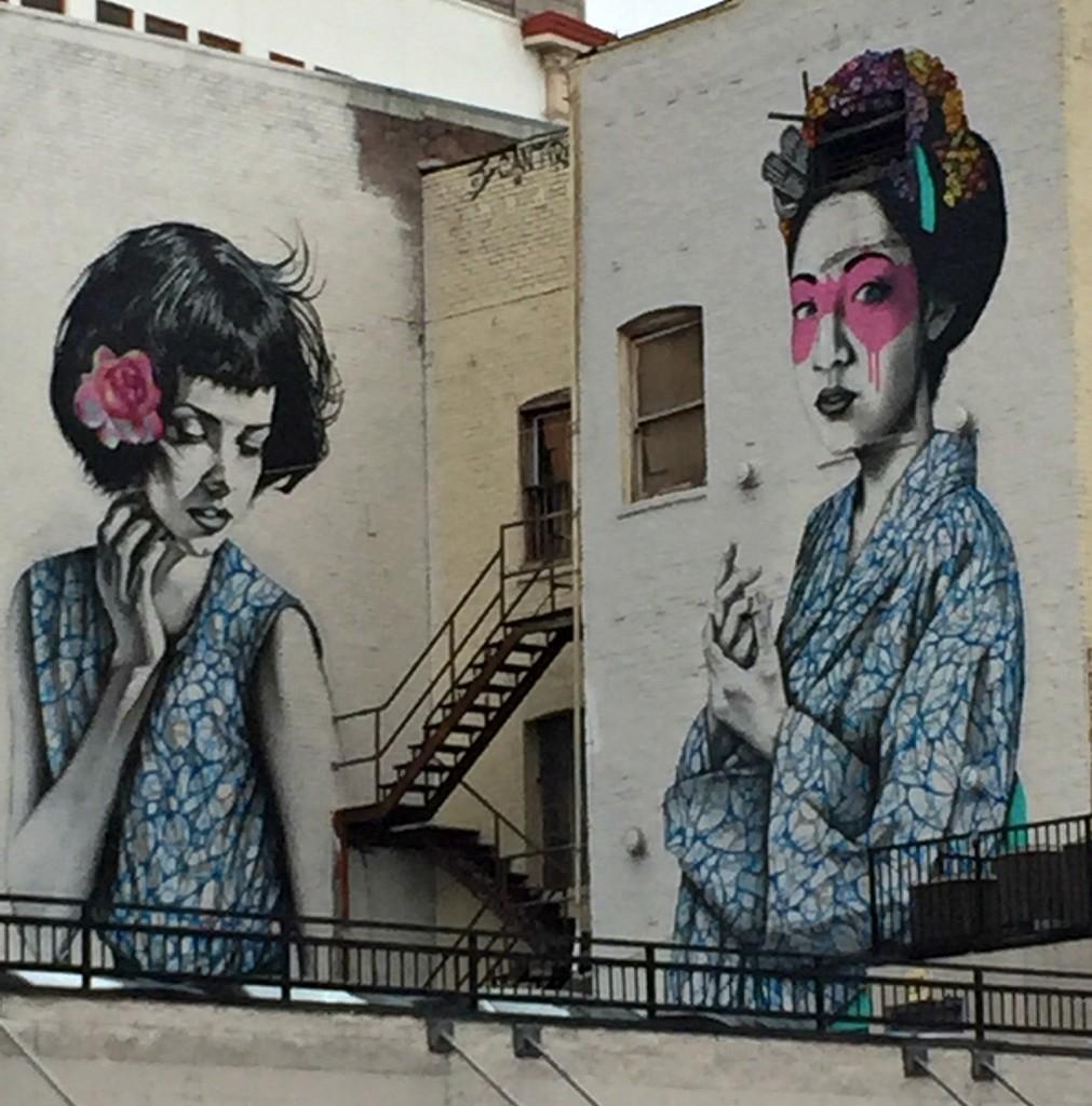 Two Japanese women mural, Los Angeles St. DTLA