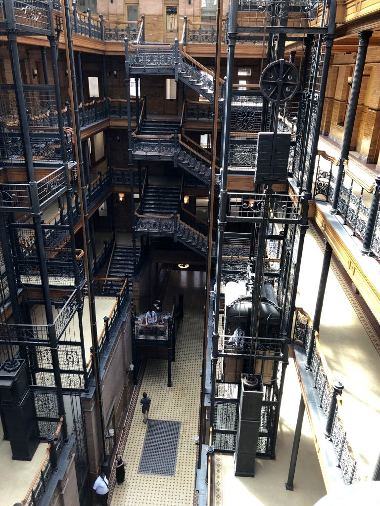 Looking down on the Lobby of the Bradbury Building